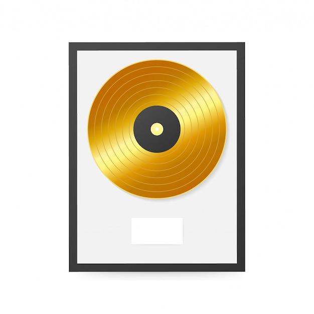 Złoty Winyl W Ramce Na ścianie. Dysk Kolekcji Premium Wektorów