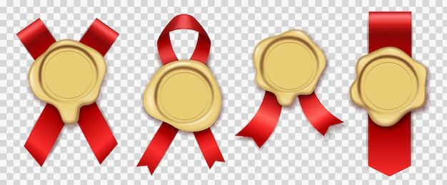 Złoty Wosk. Czerwone Wstążki Z Oryginalną Gumową Woskowaną Kopertą Na świece Vintage Pieczęć Zestaw Pieczęci Królewskiej Poczty Premium Wektorów
