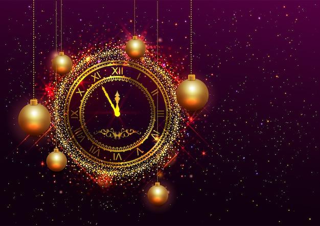 Złoty zegar sylwestrowy z cyframi rzymskimi Premium Wektorów