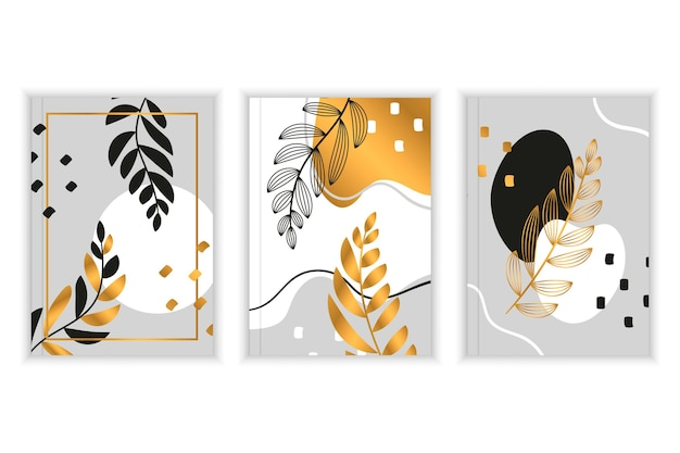 Złoty Zestaw Okładek Botanicznych Premium Wektorów