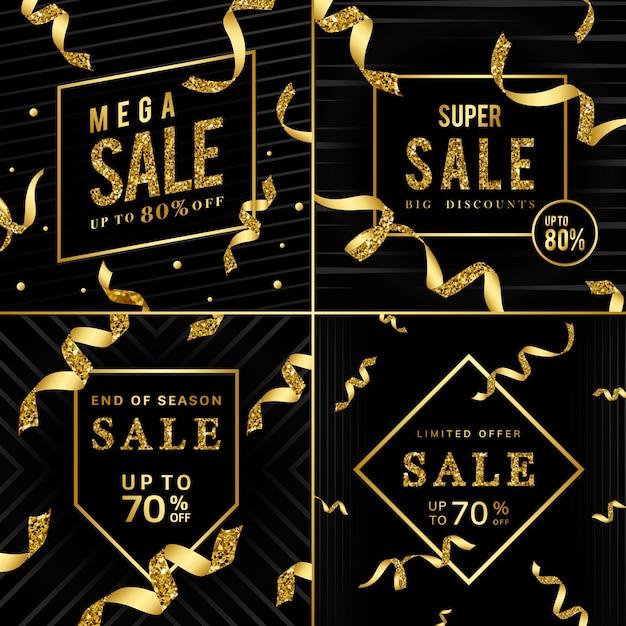 Złoty znak sprzedaży wektor zestaw Darmowych Wektorów