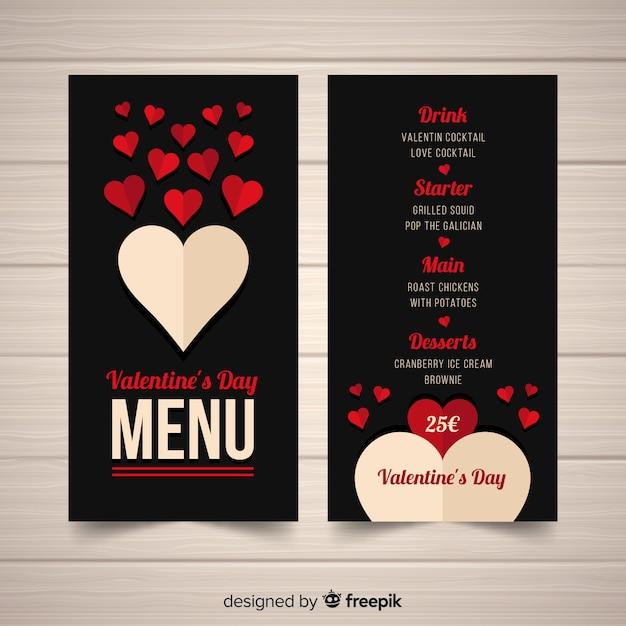Złożyć menu serca walentynki Darmowych Wektorów