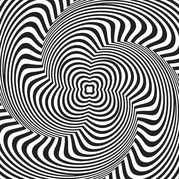 Złudzenie optyczne. abstrakcjonistyczny tło z falistym wzorem. czarno-białe paski wirowe Premium Wektorów