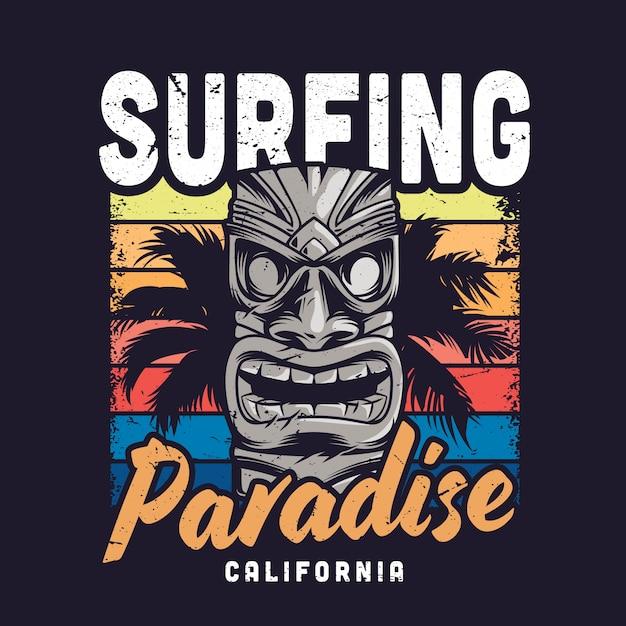 Złudzenie Rajskiego Rocznika Surfingu Darmowych Wektorów
