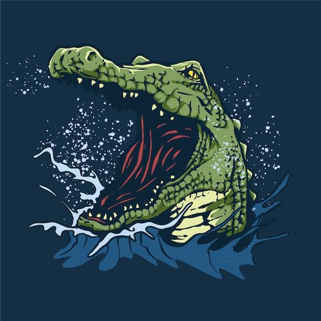 Zły Krokodyl Ilustracja Premium Wektorów