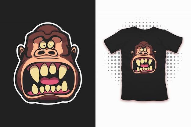 Zły Małpi Nadruk Na Koszulkę Premium Wektorów