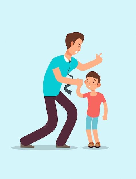Zły ojciec krzyczy na zdenerwowanego przestraszonego dziecka. Premium Wektorów