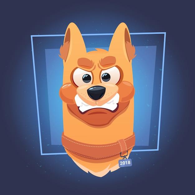 Zły pies twarz na niebieskim tle Premium Wektorów