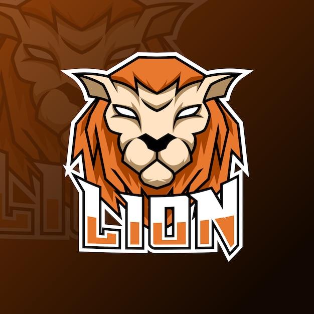 Zły pomarańczowy lew lampart jaguar tygrys maskotka logo szablon do gier Premium Wektorów