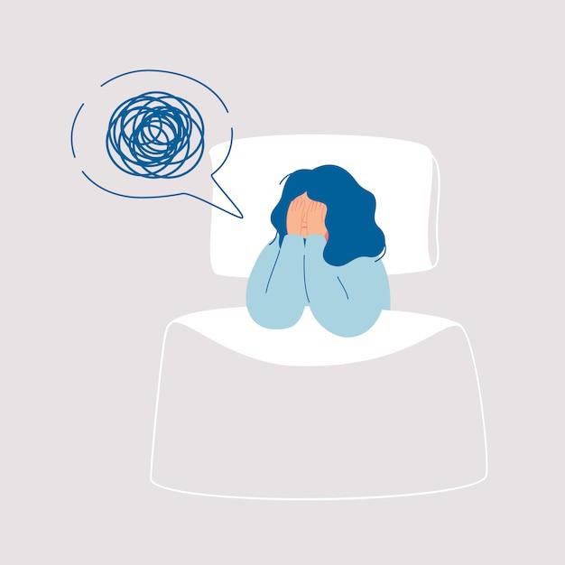 Zmęczona kobieta cierpi na bezsenność, bezsenność, zaburzenia snu, koszmar. Premium Wektorów