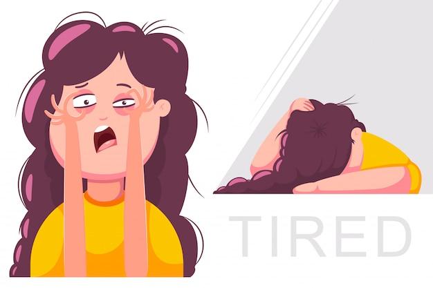 Zmęczona Kobieta Postać. Ilustracja Kreskówka Dziewczyna Na Białym Tle. Premium Wektorów