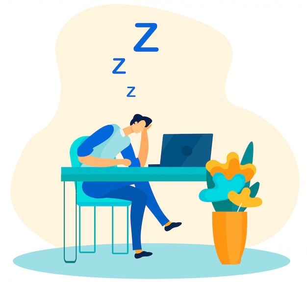 Zmęczony Mężczyzna Robotnik śpi W Biurze Płaski Kreskówka Premium Wektorów