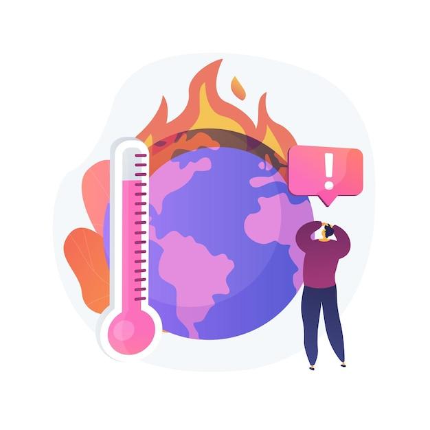 Zmiany Klimatu Ziemi, Wzrost Temperatury, Globalne Ocieplenie. Wielokrotne Pożary, Niszczenie Flory I Fauny, Dzika Przyroda Planety I Szkody Dla Ludzkości. Darmowych Wektorów