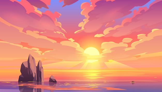 Zmierzch Lub Wschód Słońca W Oceanie, Natura Krajobraz. Darmowych Wektorów