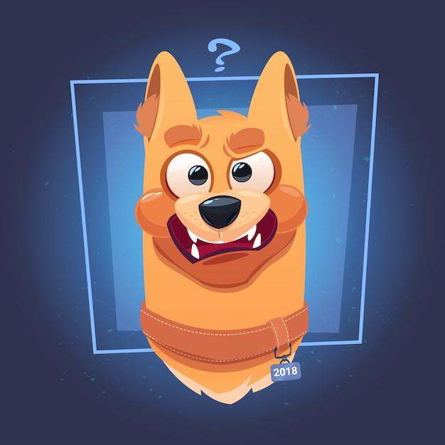 Zmieszana twarz psa z znakiem zapytania na niebieskim tle Premium Wektorów