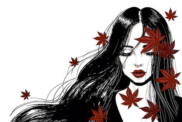 Zmysłowa Kobieta Z Długimi Włosami I Czerwonymi Liśćmi Premium Wektorów