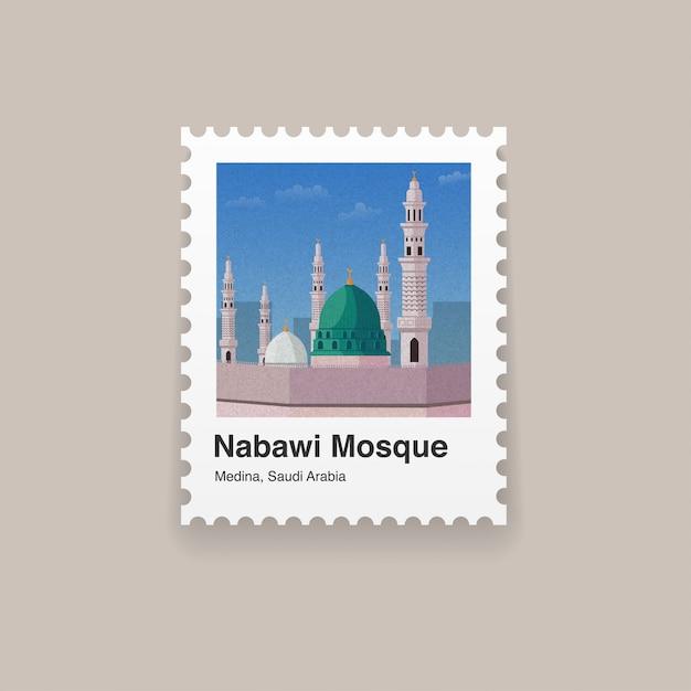 Znaczek pocztowy medina landmark landmark Premium Wektorów