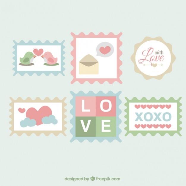 Znaczki miłość Darmowych Wektorów