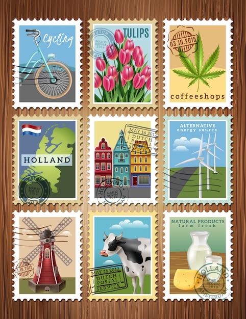 Znaczki Podróży Holandia Ustaw Plakat Darmowych Wektorów