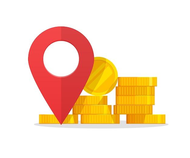 Znacznik Wskaźnika Miejsca Pieniędzy Jako Znak Docelowy Lokalizacji Bankomatu Lub Banku Premium Wektorów