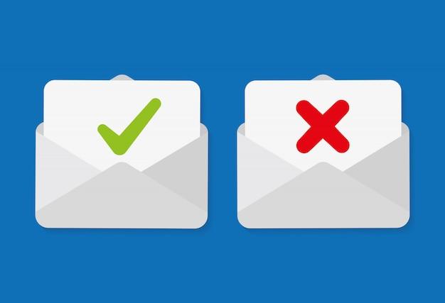 Znacznik Wyboru W Kopercie Pocztowej. E-mail Z Potwierdzeniem I Odrzuceniem. Premium Wektorów