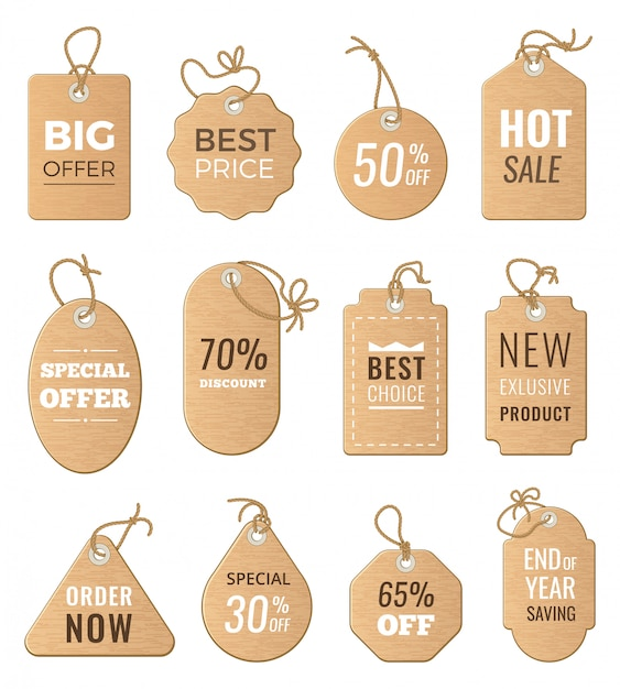 Znaczniki Rabatowe. Spadek Ceny I Duża Sprzedaż. Zdjęcia Wektorowe Zestaw Etykiet Izolować Premium Wektorów