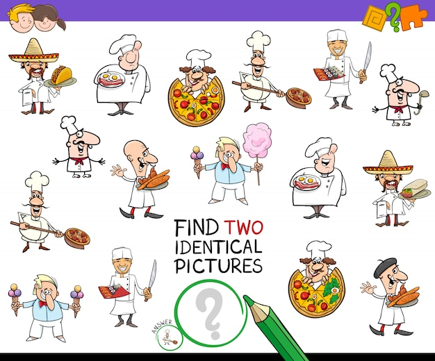 Znajdz Dwie Identyczne Gry Postaci Dla Szefow Kuchni Dla Dzieci