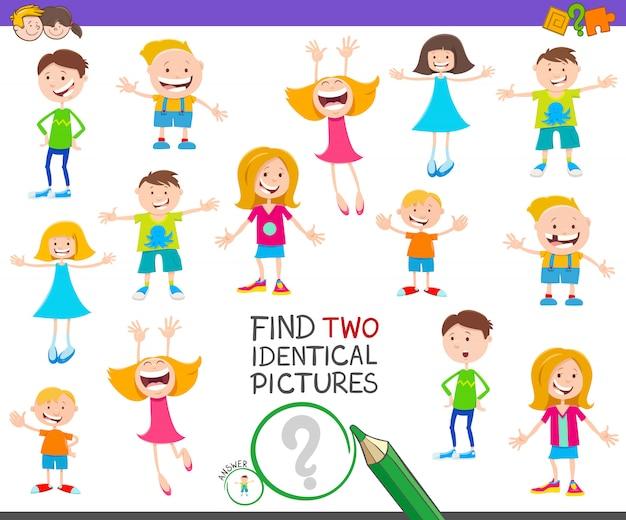 Znajdź Dwie Identyczne Zdjęcia Edukacyjna Gra Z Dziećmi Premium Wektorów