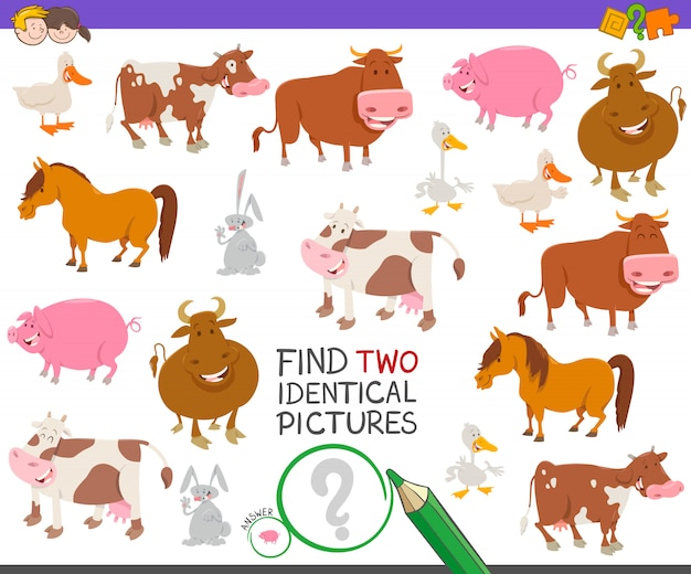 Znajdź Dwie Identyczne Zdjęcia Gra Edukacyjna Dla Dzieci Premium Wektorów