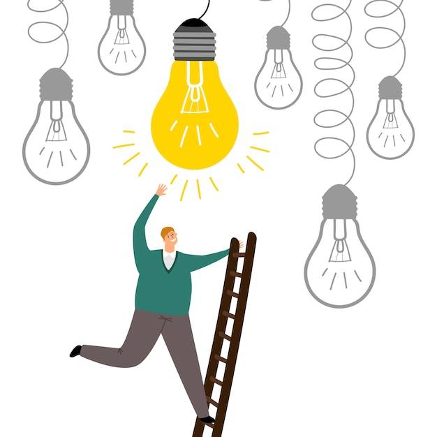 Znajdź Nowy Pomysł. Mężczyzna Podchodzi Schodki Ilustracyjnych Premium Wektorów