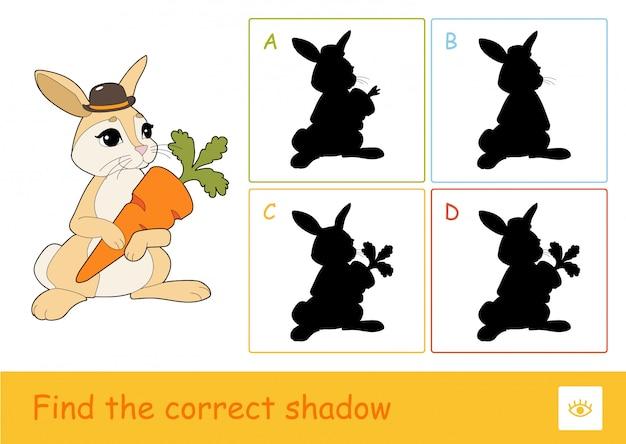 Znajdź Odpowiedni Quiz Cieni Do Nauki Gry Dla Dzieci Ze Słodkim Królikiem Trzymającym Marchewkę I Czterema Cieniami Sylwetki Dla Najmłodszych Dzieci. Premium Wektorów