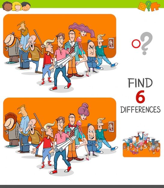 Znajdź Różnice Gra Edukacyjna Dla Dzieci Premium Wektorów