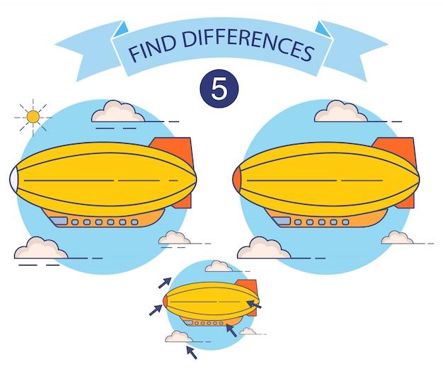 Znajdź Różnice W Sterowcu, Gra Edukacyjna Dla Dzieci, Riddle Dla Przedszkola. Sterowce Lecą. Premium Wektorów