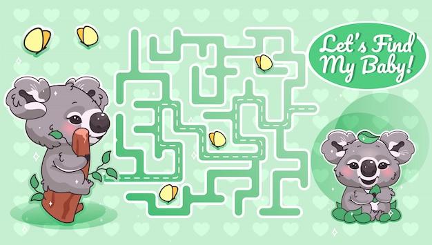 Znajdźmy Mój Zielony Labirynt Z Szablonem Postaci Z Kreskówek. Australijskie Zwierzę Znajduje Labirynt ścieżki Z Rozwiązaniem Do Gry Edukacyjnej Dla Dzieci. Koala Szuka Układu Do Druku Dla Dzieci Premium Wektorów