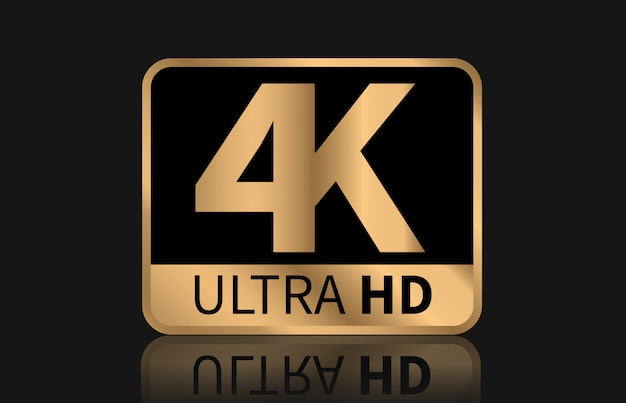 Znak 4k ultra hd wektor. Premium Wektorów