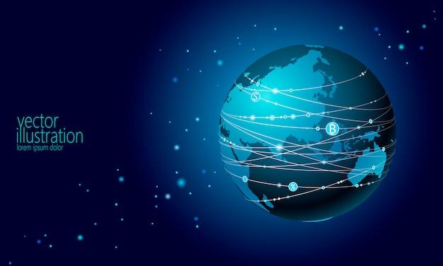 Znak Bitcoin Kryptowaluty Planeta Ziemia. Online Internet Sieci Komunikacyjnej Kopalniany Tło Premium Wektorów