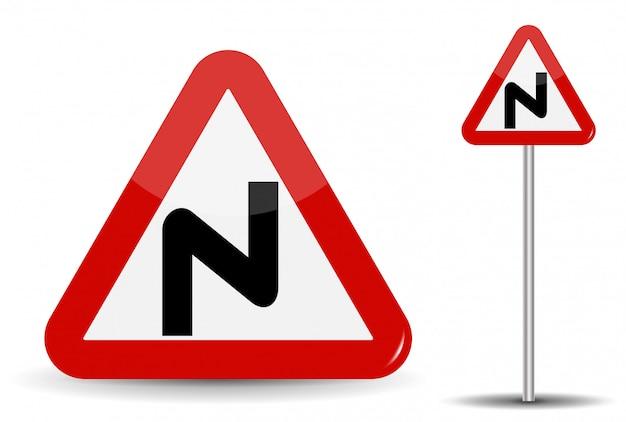Znak Drogowy Ostrzeżenie Niebezpieczne Zakręty. W Czerwonym Trójkącie Schematycznie Pokazano Zakrzywioną Linię, Oznaczającą Wiele Zwojów. Premium Wektorów