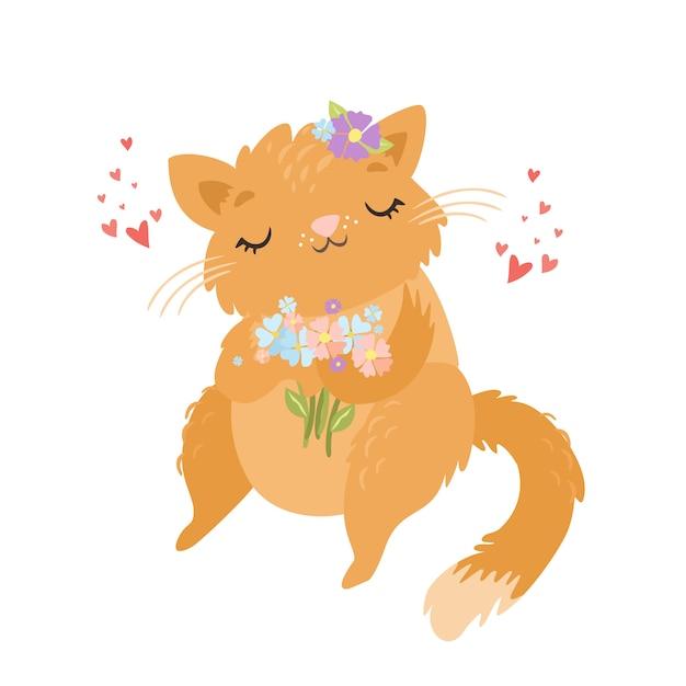 Znak ładny Kot Zakochany W Kwiatach Darmowych Wektorów