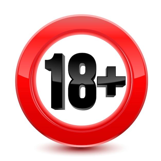 Znak limitu wieku lub ikona na czerwono Premium Wektorów