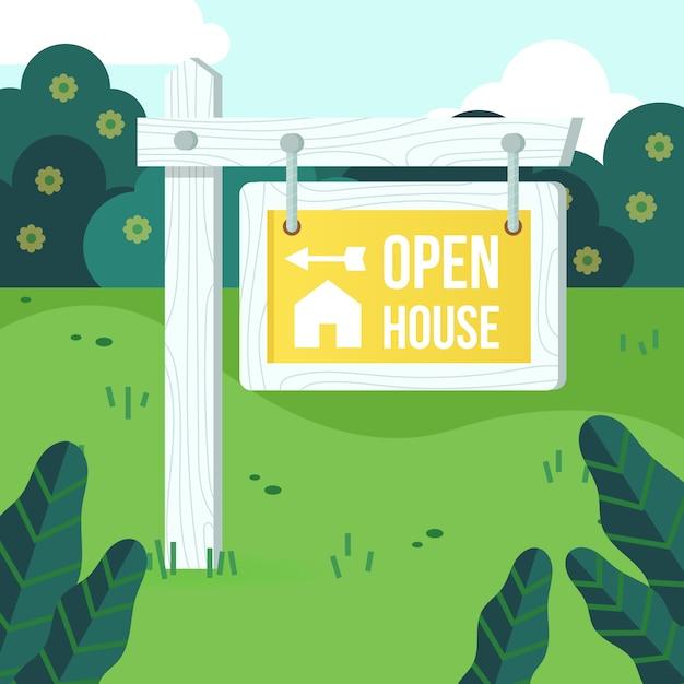 Znak Otwarty Dom Na Sprzedaż Darmowych Wektorów