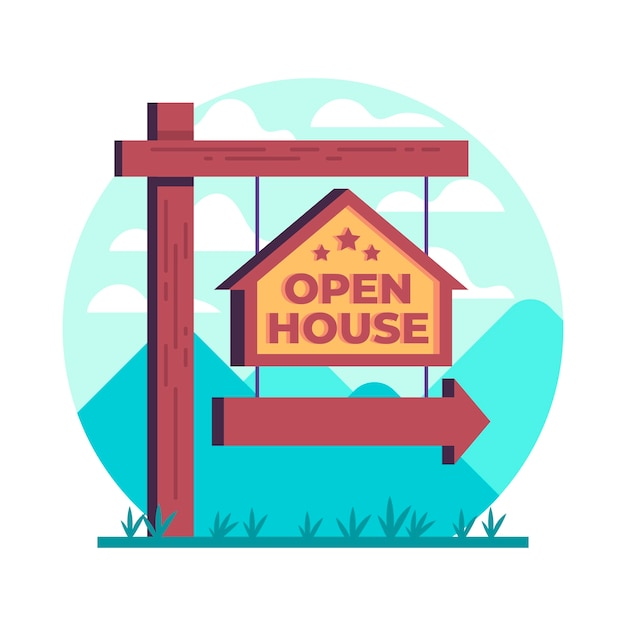 Znak Otwarty Dom Nieruchomości Darmowych Wektorów