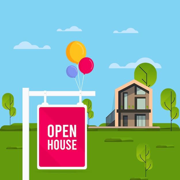 Znak Otwarty Dom Z Domu Darmowych Wektorów
