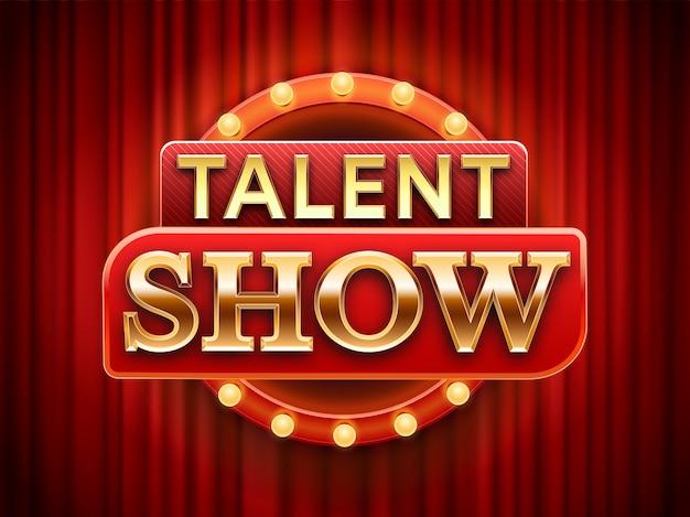 Znak Pokazu Talentów. Utalentowany Scena Sztandar, śnieg Sceny Czerwone Zasłony I Wydarzenia Zaproszenia Plakata Ilustracja Premium Wektorów