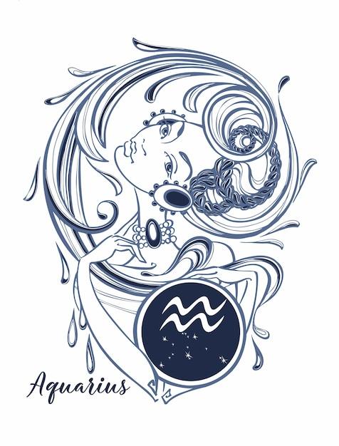 Znak Zodiaku Wodnik Piękna Dziewczyna Wektor Premium