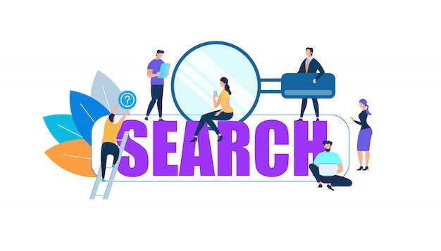 Znaki ludzi wokół big purple word search Premium Wektorów