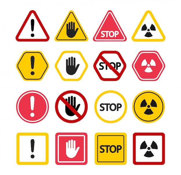 Znaki Ostrzegawcze. Nie Dotykaj, Uwaga Przestań! Symbole Zakazu. Premium Wektorów