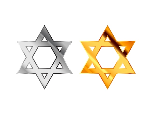 Znaki Religijne Judaizmu Wykonane Z Błyszczącego Srebra I Złotego Metalu Na Białym Tle Premium Wektorów