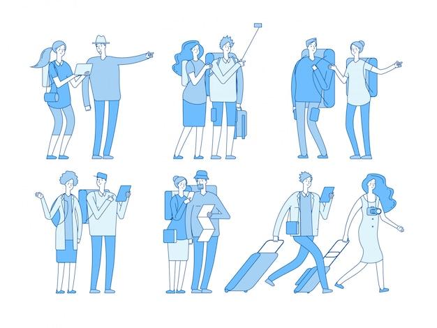 Znaki Turystyczne Ludzie Z Walizkami Torby Wakacje. Europejska Rodzina Podróży W Letnie Wakacje Podróży Para Kreskówka Zestaw Premium Wektorów