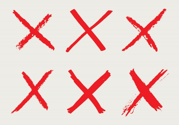 Znaki x w stylu grunge Premium Wektorów