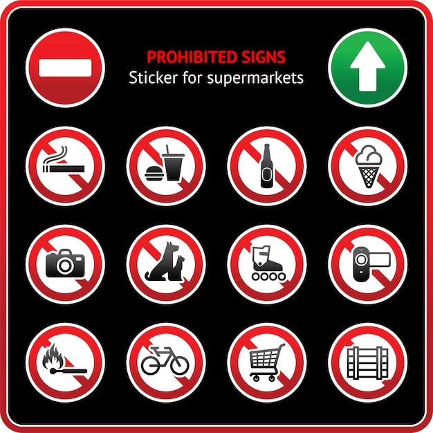Znaki Zabronione. Przyklejona Etykieta Dla Supermarketów Premium Wektorów
